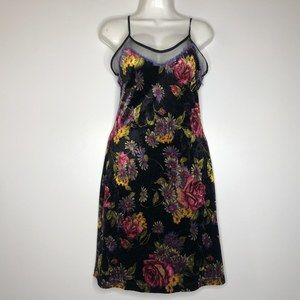 Betsey Johnson Vintage Velvet Slip Dress Floral Lg